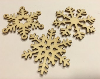3 piece LARGE wood Snowflake mix, 50 mm (A3)