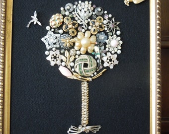 Jewelry Art, Floral Art, Tree with Dragonfly and Bird,  Hand Made by Me.