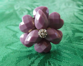 Vintage Costume Ring, Purple Flower with Central Rhinestones, Size 9
