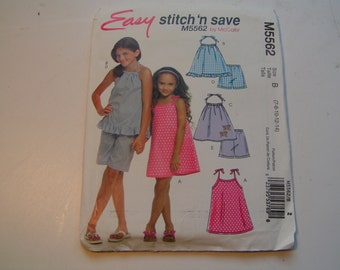 McCalls Pattern M5562 easy stitch n save Girl Dress Top and Shorts