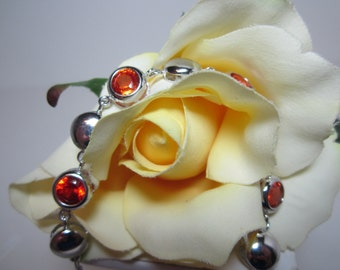 Lab Grown Padparadscha Sapphire Bracelet