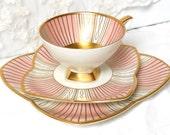 RESERVED  for QI - rare vintage tea set tea cup trio Bavaria porcelain tea cups tea trio german teacup shabby chic Alka 856