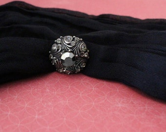 Silver Tone Ring with Black Stone - Vintage