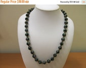 ON SALE Vintage Green and Black Venetian Glass Beaded Necklace Item K # 1199