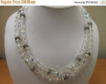 ON SALE Vintage Double Strand Aurora Borealis Crystal Necklace with Clear Rhinestone Accents Item K # 2833