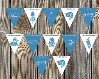 Alice in Wonderland Teatime Blue and White Decorative Bunting Printable