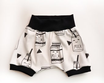 Milk Premium Organic Cotton Infant/Toddler Harems, Minis, or Beach Harem Shorts with contrasting Waistband and Leg cuffs
