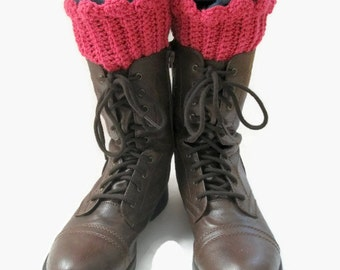Crocheted Boot Cuffs Boot Toppers Bright Pink READY TO SHIP