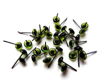 10 PAIR 7mm Glass Eyes On Wire Pins for needle felted sculpture, teddy bears, felted animals, dolls, Ooaks green color