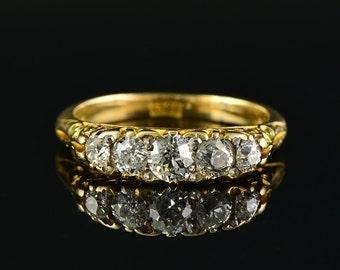 Delightful Victorian  1.05 Ct plus old cut diamond five stone ring