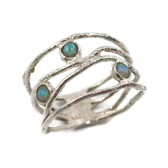 opal ring sterling silver opal ring wave ring opal jewelry