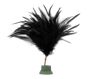 Edwardian Black Ostrich Feather Topper or Pom Pom Antique Millinery