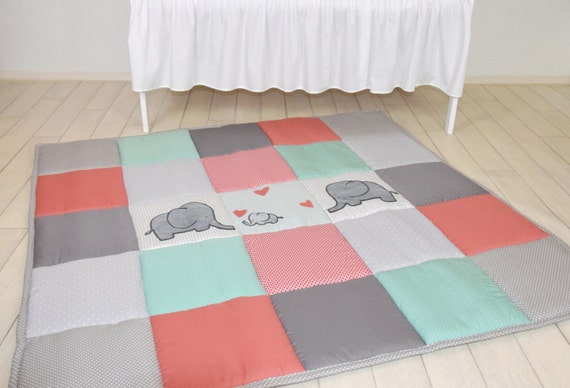 Elephant playmat, mint coral gray play mat, floor gym crawl mat, baby mat thick large, soft baptism gift for boys and girls