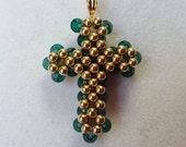 Gold cross 14 karat gold birthstone cross