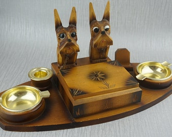 German Hand Carved Wood Wooden Smoking Smokers Tray Ashtray Cigarette Box with Scottie Dog Details
