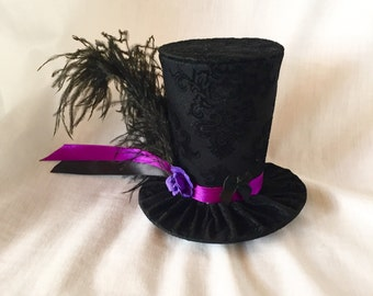 Tiny Top Hat: Classic Fancy Purple - Lolita Cosplay Costume Party Fascinator Photo Photography Prop Wedding Tophat Small Mini Miniature litt