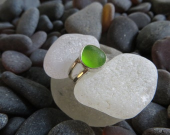 Size 4, Lime Green Sea Glass Ring, Sterling Silver, Double Band Ring
