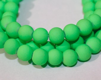80pc Neon Green Loose Glass beads/ Bracelet beads / Necklace Beads/8mm