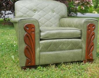 Mid Century Green Vinyl Tufted Chair