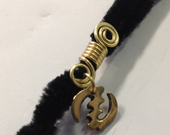 Gye Nyame African Adinkra Wire Wrapped Hair Bead Dread Locs Dreadlock Jewelry