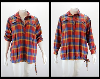 Plus Size Plaid Shirt Top - Oversized Plaid Lumberjack Boyfriend Tunic Shirt