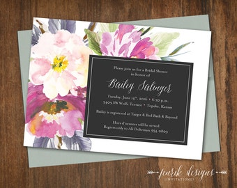 Elegant Floral Bridal Shower Invitation || Printable Invitation || Purple, Lavender, Sage