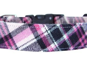Hot Pink Black Plaid Dog Collar/ Flannel Plaid Dog Collar: Lassie Flannel