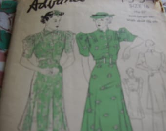 Vintage 1940's Advance 1554 Tunic Dress with Skirt Sewing Pattern, Size 16, Bust 34