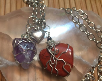Custom necklaces with two wrapped healing crystals by Rockin' Crystals