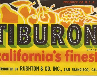 Vintage Tiburon California Fruit Crate Label