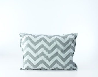 SALE - Chevron Toddler Pillow // Gray and White Small Pillow // Childs Wool Bed Pillow // Adults Travel Pillow