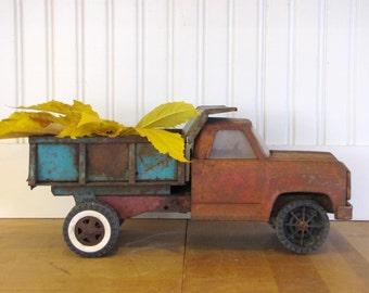 1960's Rusty Tonka Dump Truck, Tonka, Dump Truck, Truck, 1960's, Rusty, Pressed Steel, Photo Prop, Planter, Industrial, Tonka Truck, Red