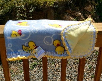 Baby Duckie Double Sided Fleece Car Seat/Stroller Blanket with Crochet Trim