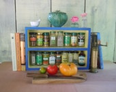 Rustic Spice Rack - Medium Free Standing Blue and Yellow Spice Rack With Backing. Made from Solid Pine