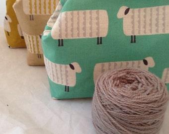 Knitting Project Bag Snap Clutch,Sock Knitting Project Bag, Purse, Large Purse Frame Bag, Clutch, Kokka Sheep Fabric Bag PRE-ORDER