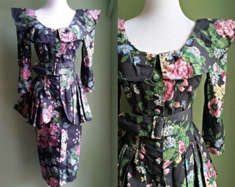 Sale // 1980's I think We're Alone Now Dress - Peplum Floral Fitted Dress - Small