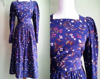 1980's Laura Ashley Cord Dress - Floral Printed Prairie Dress - Small