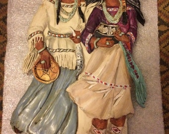 1994 Signed Roz Prouty Sisters in Spirit Ceramic Hand-painted Wall Plaque Hanging