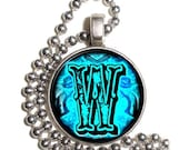 """Letter """"W"""" Art Pendant, Alphabet Resin Pendant, Vintage Initial  Photo, Silver Nickel Coin Charm Necklace"""