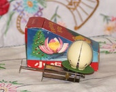 Vintage Tin Spinning Easter Egg Toy, Easter Chick Basket Filler with Original Box
