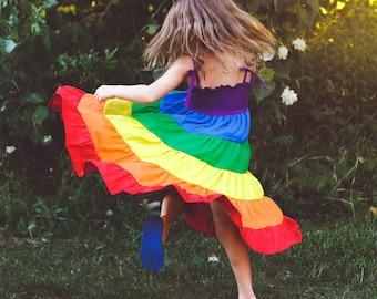 Rainbow dress - Girls rainbow twirl dress - Party dress - Rainbow party - Sizes 2 to 10  - children dress girlsandboys