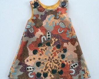 Girl's A-line dress/ jumper, unique toddler dress, Australian Aboriginal print dress,stunning jumper, One-of-a-kind, lined jumper, size 2T.