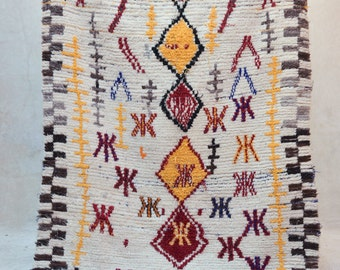 "A GOLDEN STATE of MIND 8' x 4'10"" Boucherouite Rug. Tapis Moroccan Berber. Mid Century Modern Danish Design Compliment. ZA16-138"
