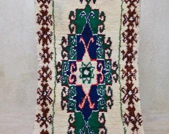 "PARISIAN GARDENS 6'4"" x 3'11"" Boucherouite Rug. Tapis Moroccan. Teppich Berber. Mid Century Modern Danish Design Compliment. FA15-103"