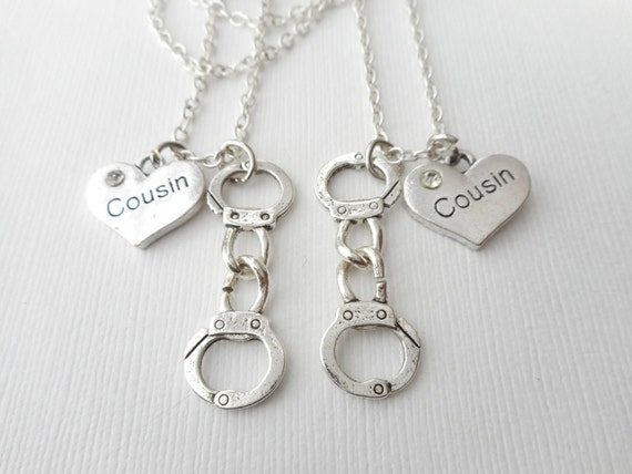 2 handcuff partners in crime cousin best friend necklaces