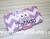Custom Purple Chevron with Owl Applique Diaper Wipes Case