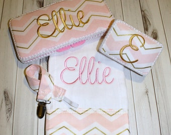 4 piece Baby Shower Gift Set - 1 Burp Cloth / Paci Case / Paci Clip / Wipes Case - Pink and Gold Chevron