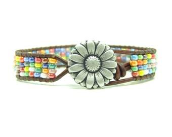 Loomed Beaded Leather Wrap Bracelet, Rainbow Colored Wrap Bracelet, Multi Color Beaded Wrap, Boho, Single Wrap Bracelet