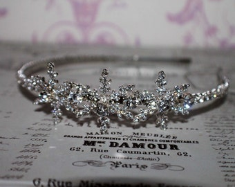 snowflake headpiece wedding headdress diamante tiara crystal headband  side tiara