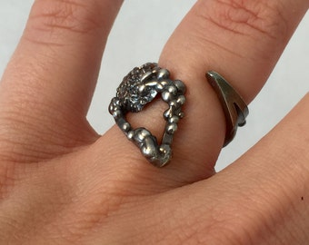 Asymmetrical Sterling Silver Oxidized Ring